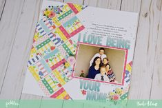 How adorable is this Mother's Day layout + card set by @jbckadams? Bright patterns, machine stitching, and thickers make this page (almost) as special as mom.