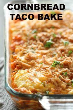 Mexican Food Recipes, Beef Recipes, Cooking Recipes, Dinner Recipes, Budget Recipes, Taco Bake Recipes, Easy Taco Bake, Easy Recipes, Tostada Recipes