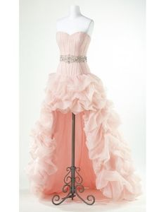 A-line Sweetheart Beaded Pick Up High Low Prom Dress