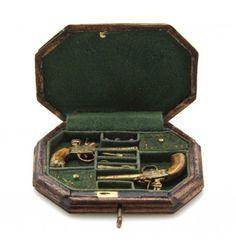 A Walnut Cased Thomas Jefferson Dueling Pistol Set