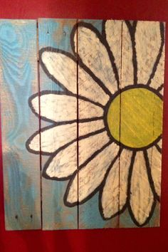 2nd blue background daisy pallet sign