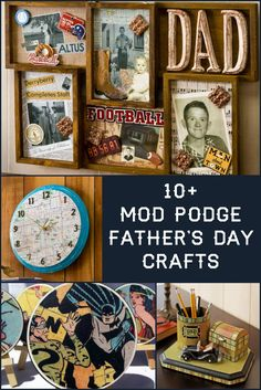 Father's Day Crafts He'll Love: Made with Mod Podge! – Mod Podge Rocks Bust out your Mod Podge bottle and make something cool for dad with this collection of over ten decoupage Father's Day crafts! via Mod Podge Rocks Diy Mod Podge, Mod Podge Crafts, First Fathers Day Gifts, Fathers Day Crafts, Daddy Day, Diy Father's Day Gifts, Rock Crafts, Creative Crafts, Craft Fairs