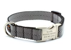 Herringbone Webbing Dog Collar with Personalized Buckle - SILVER. $26.99, via Etsy.