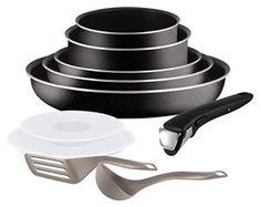 Tefal L2009802 Set de poêles et casseroles – Ingenio 5 Essential Noir Set 10 Pièces – Tous feux sauf induction