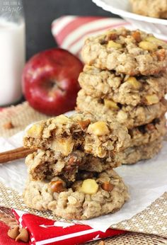 These Apple Cinnamon Oatmeal Cookies are now one of my favorite cookies. They are fall in a cookie. I think I could make them weekly and watch them disappear in no time. They were a big hit!