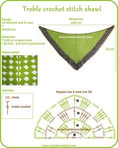 Treble crochet stitch shawl