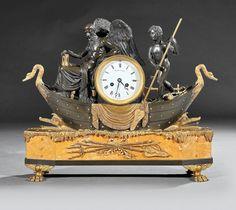 Napoleon III Gilt, Patinated Bronze Mantel Clock : Lot 125