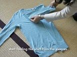 Japanese clean queen and professional de-clutter guru Marie Kondo reveals the best way to fold and store a long sleeved T-shirt.