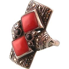 Art Deco Theodor Fahrner Ring in Natural Coral, Onyx, and Marcasites, from steig on Ruby Lane