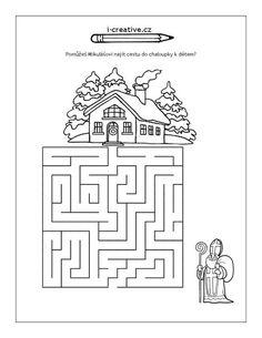 bludiště mikuláš Preschool Worksheets, Craft Activities, St Nicholas Day, Diy And Crafts, Crafts For Kids, Maze Puzzles, Saint Nicolas, Picture Puzzles, Advent