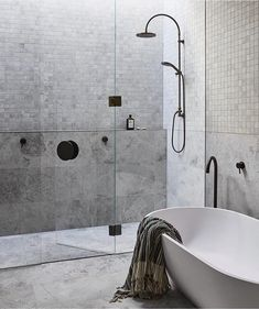 Trying to pick a new tile for your bathroom? Wondering if it's okay to use 2 different tiles? Tile selection is one of the most important decisions you'll make when designing your new bathroom. Bathroom Styling, Bathroom Interior Design, Modern Interior Design, Interior Architecture, Interior Decorating, Timeless Bathroom, Minimal Bathroom, Modern Bathroom, Master Bathrooms