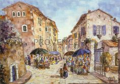"""Place de Seguret (Ref/GIR031) by Philippe Giraudo - Reproduction 70 x 50 cm (19.75"""" x 27.60"""") - $ 24.99 French Artists, Painting, Painting Art, Paintings, Painted Canvas, Drawings"""