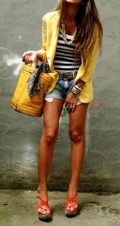 Yellow blazer, stripes and cut offs--fashionista Looks Style, Style Me, Surf Style, Yellow Blazer, Yellow Stripes, Colored Blazer, Yellow Accents, Yellow Shorts Outfit, Nautical Stripes