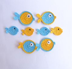 Crochet Applique Blue And Yellow Fish 8pcs - Supplies for baby clothing. $10.00, via Etsy.