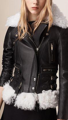 Black Lambskin Biker Jacket with Shearling Trim - Image 4