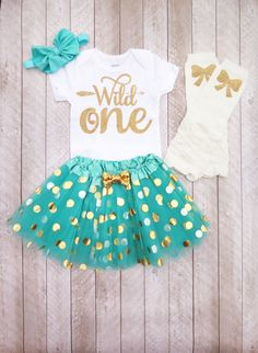 Wild One First Birthday Mint And Gold Outfit Year Old Girl