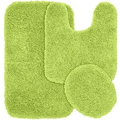 nice Garland Rug 3-Piece Jazz Shaggy Washable Nylon Bathroom Rug Set, Lime Green
