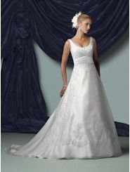 A-line Organza Lace Bodice Scoop Neckline Neckline Chapel Length Train Wedding Dresses (JC11168S)