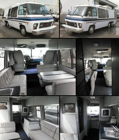 Motorhome Interior, Gmc Motorhome, Vintage Rv, Vintage Caravans, Gmc Motors, Rochester Minnesota, Airstream Camping, Motorhomes For Sale, Blue Carpet