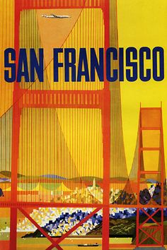 San francisco golden gate bridge plane travel tourism vintage poster repro