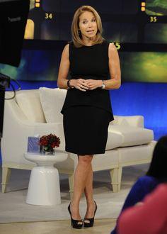 This black Elie Tahari dress gives Katie a sleek look.