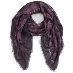 Women's Marc Jacobs Blur Check Silk & Cashmere Scarf ($270) ❤ liked on Polyvore featuring accessories, scarves, burgundy multi, tartan scarves, marc jacobs, cashmere shawl, plaid cashmere scarves and tartan shawl