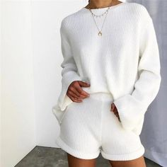 Vintage Striped Two Piece Set Autumn Winter Back Lace Up Pullover Sweaters and Shorts Knitted Set outfit Lazy Outfits, Cute Lounge Outfits, Casual Outfits, Fashion Outfits, Fashion Sets, Lazy Day Outfits For Summer, Fashion Hacks, Emo Outfits, Outfit Summer