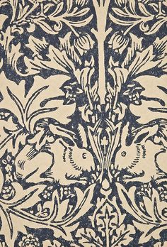 Brer Rabbit Wallpaper Classic William Morris Floral and Animal print, in Blue and Cream.