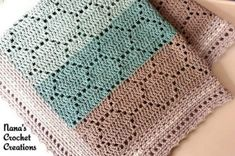 An easy to memorize pattern repeat makes a cute and cheery baby blanket. Pattern… An easy to memorize pattern repeat makes a cute and cheery baby blanket. Pattern can be easily enlarged by adding multiples of 18 to the starting chain. Crochet Afghans, Crochet Baby Blanket Beginner, Crochet Blanket Patterns, Filet Crochet, Baby Knitting Patterns, Crochet Stitches, Knit Crochet, Crochet Blankets, Hexagon Crochet