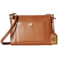 LAUREN Ralph Lauren Newbury Pocket Crossbody (Lauren Tan) Cross Body... ($148) ❤ liked on Polyvore featuring bags, handbags, shoulder bags, crossbody purse, shoulder handbags, brown shoulder bag, leather shoulder bag and leather crossbody purse