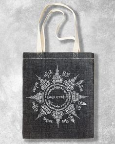 Tote Bag Canvas Thai Yantra Mandala hand screenprint by Phanganer