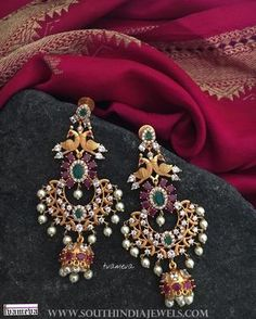 Gold Plated Antique Earrings From Tvmeva ~ South India Jewels Gold Jhumka Earrings, Jewelry Design Earrings, Gold Earrings Designs, Gold Jewellery Design, Ear Jewelry, Antique Earrings, Gold Jewelry, Jhumka Designs, Mommy Jewelry