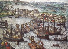São João Baptista on left firing over tunis, Tunisia He entered in battles in America, on Atlantic and Mediterranean it was the Botafogo spur ram that broke up the chains at La Goletta, which defended the port entrance of Tunis, allowing the Christian allied fleet to reach and conquer the city.