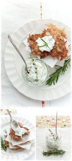 Ginger Potato Pancakes with Herbed Goat Cheese