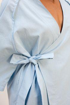 #babyblue #cotton #wrap #dress #detail #ribbon #belt Ribbon Belt, Baby Blue, Wrap Dress, Detail, Cotton, Clothes, Dresses, Fashion, Outfits