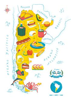 Argentine Food Map on Behance Argentina Culture, Argentina Food, America City, South America, Design Thinking, Geography For Kids, Food Map, Spanish Speaking Countries, Country Maps