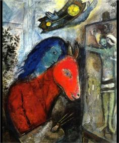 Self Portrait with a Clock In front of Crucifixion by Marc Chagall. Size: Medium: oil on canvas .