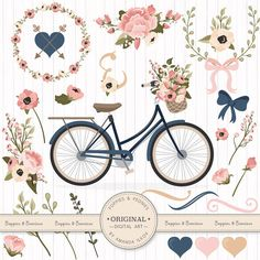 Premium Wedding Clipart & Vectors - Navy And Blush Bicycle Clipart, Wedding Bicycle, Bicycle and Flowers, Vintage Bicycle Clip Art