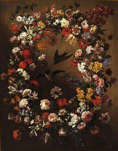 Bartolomeo Bimbi — Garland of Flowers, Birds and Butterflies Art Floral, Renaissance, Giuseppe Arcimboldo, Fries, Tribute, Paul Cezanne, Flower Garlands, Villa, Large Canvas