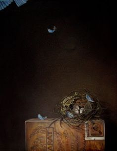 """JEANNE ILLENYE - Still Lifes: """" Startled """" nest of twigs & leaves with eggs & blue bird feathers, antique vintage cigar box, contemporary realism, oil painting by jeanne illenye"""