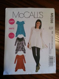 McCall's Pattern M6398 Ladies Tunics 4 styles sizes 18W to 24W