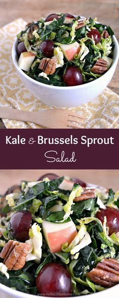 Kale and Brussels Sprout Salad with Maple Vinaigrette ... this delicious vegan salad recipe is the perfect side dish for any meal! Packed full of fresh fruits and veggies, plus bursting with flavor, this easy kale salad is sure to be a hit with everyone who tries it! | Hello Little Home