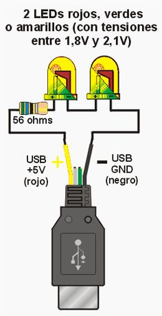 Como conectar leds al USB - ᐅ Proyectos Electronicos Electronic Schematics, Electronic Parts, Electronic Circuit Projects, Electronic Engineering, Technology Lessons, Technology Gadgets, 3 Way Switch Wiring, Electronics Projects For Beginners, Electrical Substation