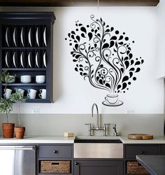 Wall Vinyl Decal Restaurant Kitchen Coffee Tea Flower by BoldArtsy