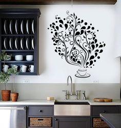 Wall Vinyl Decal Restaurant Kitchen Coffee Tea Flower by BoldArtsy