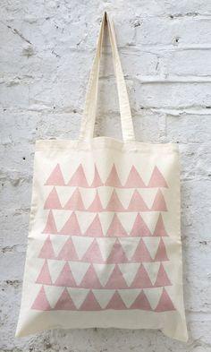 Tote bag: 'Peaks' rose pink cotton tote bag, hand printed