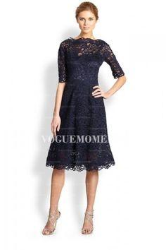 Sheath/Column Bateau Tea-length Lace Mother of the Bride Dress