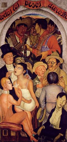 Diego Rivera (1886-1957, Mexico), 1928, Night of the Rich, Fresco, Location: Secretariat of Public Education Main Headquarters, Mexico City, Mexico.  Covering all of the walls of these two courtyards of the are murals. 235 panels or 1585.14 m2 of this mural work was done by Diego Rivera between 1923 and 1928. This was Rivera's first major large-scale mural project.