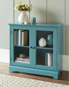 Details about Teal Wood Glass Door Buffet Sideboard China Storage Cabinet Server Curio Display Wood Glass Door, Glass Cabinet Doors, Cabinet Decor, China Cabinet, Glass Doors, Glass Shelves, Teal Cabinets, Refacing Kitchen Cabinets, Cabinet Refacing