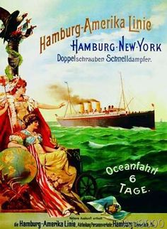German School - Poster advertising the Hamburg American Line, 1897